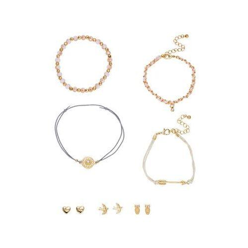 Bonprix Komplet biżuterii z bransoletkami i kolczykami (7 części) złoty kolor - jasnoróżowo-biały