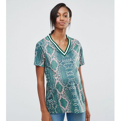 ASOS Maternity T-Shirt in Bright Snake Print with Stripe Tipping in Longline - Multi