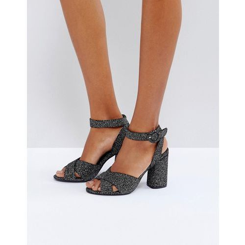 glitter velvet block heel sandal - black, Truffle collection
