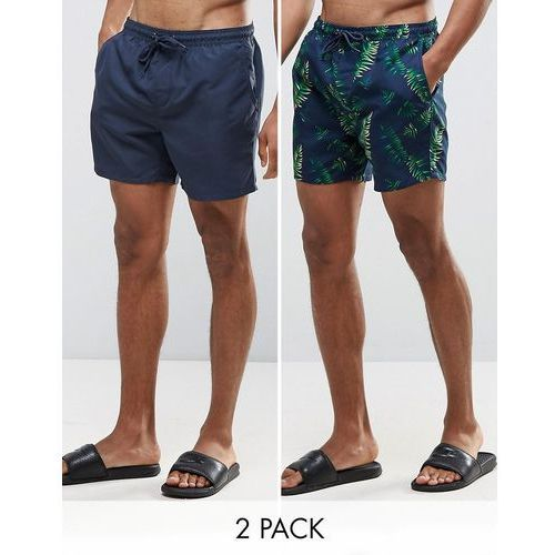 Bravesoul 2 Pack Swim Shorts in Tropical Print and Navy Plain - Navy