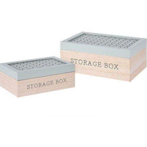 Home styling collection Komplet drewnianych pudełek, ozdobne kuferki na drobiazgi, zestaw 2 szt - zielony