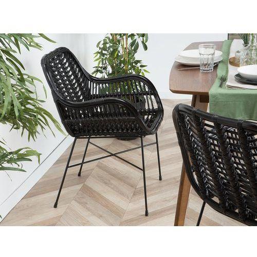 Beliani Zestaw 2 krzeseł rattanowych czarne canora