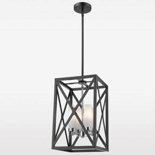 Evo Lampa wisząca p04117ch metalowa oprawa szklane tuby zwis klatka chrom biała czarna (5902115963117)