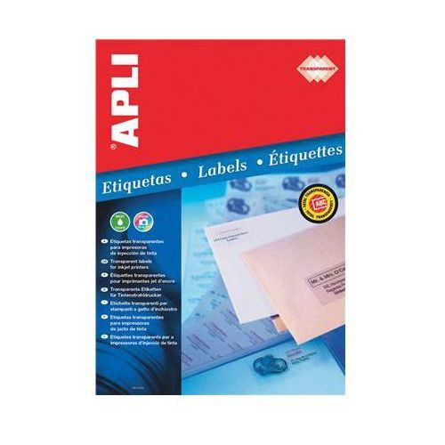 Apli Etykiety poliestrowe , 70x37mm, prostokątne, transparentne 10 ark. (8410782100515)