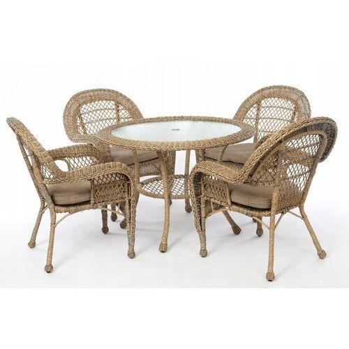 Meble ogrodowe technorattan stół 4 krzesła zestaw