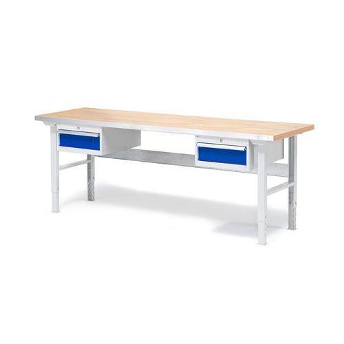 Stół warsztatowy solid, zestaw z 2 szufladami, 500 kg, 2000x800 mm, dąb marki Aj produkty