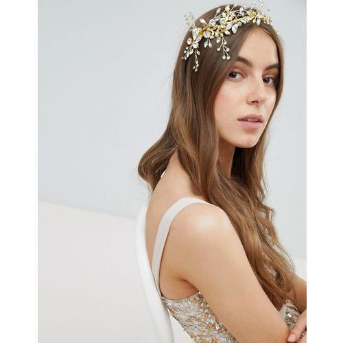Stone & Rose Wired Navette Leaf Head Piece - Gold