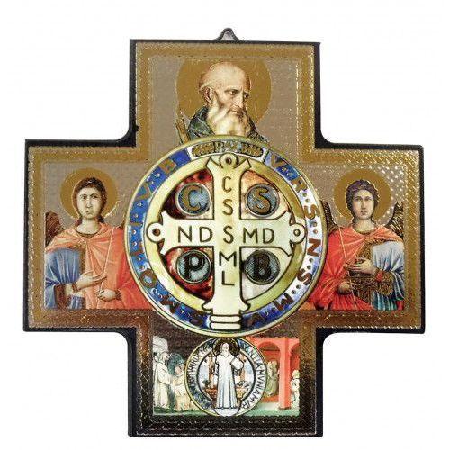 Ikona krzyż z wizerunkiem Św. Benedykta 15x15 cm