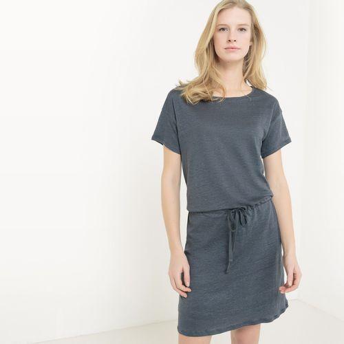 Lniana sukienka z krótkim rękawem marki R essentiel