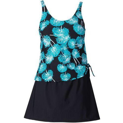 Sukienka kąpielowa wyszczuplająca  czarno-turkusowo-biały marki Bonprix