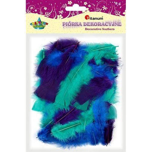 Kolorowe pióra dekoracyjne, 8g niebiesk, craft-fun - turkusowe+fioletowe+niebieskie marki Titanum