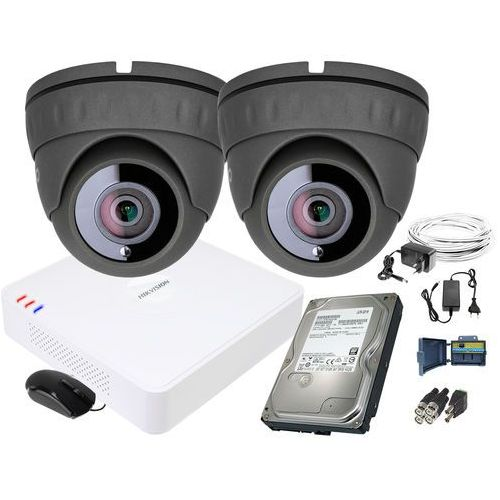 Zm11839 zestaw do monitoringu 2 kamery ir 25m rejestrator hikvision fullhd dysk 1tb marki Keeyo