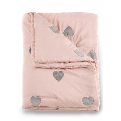 Bonprix Narzuta na łóżko w serduszka jasnoróżowy