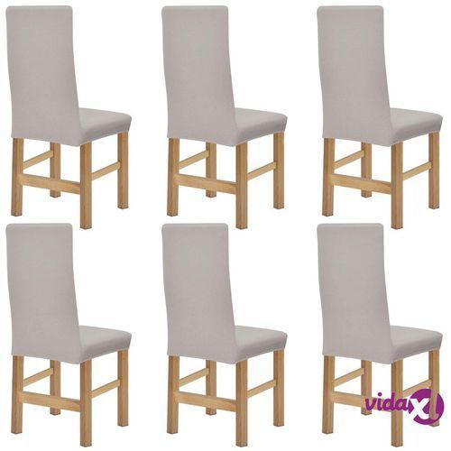vidaXL Elastyczne pokrowce na krzesła, prążkowane, 6 szt., beż