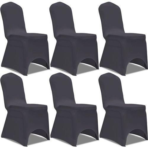 Elastyczne pokrowce na krzesło antracytowe 6 szt. marki Vidaxl