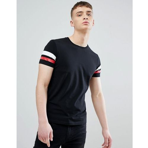 Esprit muscle fit t-shirt in black with arm stripe - black
