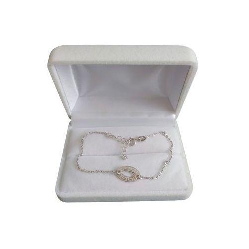 Bransoletka srebrna z greckim wzorem celebrytka SBC02, kolor szary
