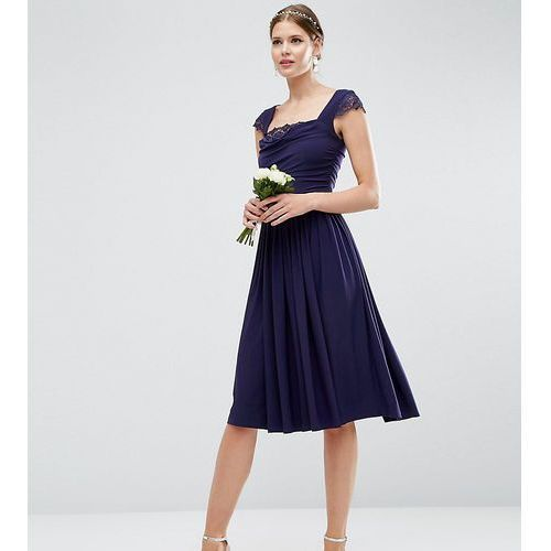 Asos tall wedding lace insert cowl midi dress - navy