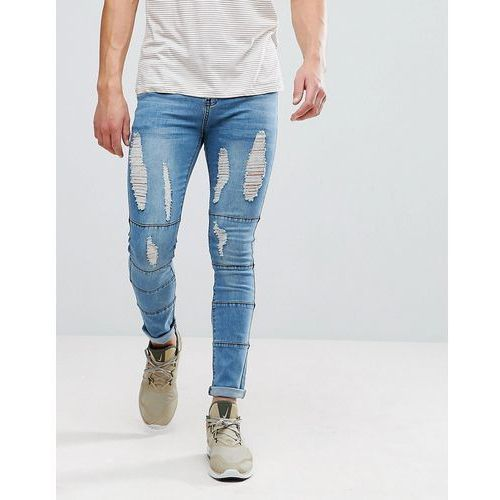 boohooMAN Skinny Jeans With Panels And Rips In Light Wash - Blue, kolor niebieski