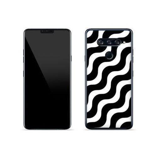 LG V40 ThinQ - etui na telefon Fantastic Case - biało-czarna fala, ETLG813FNTCFC026000