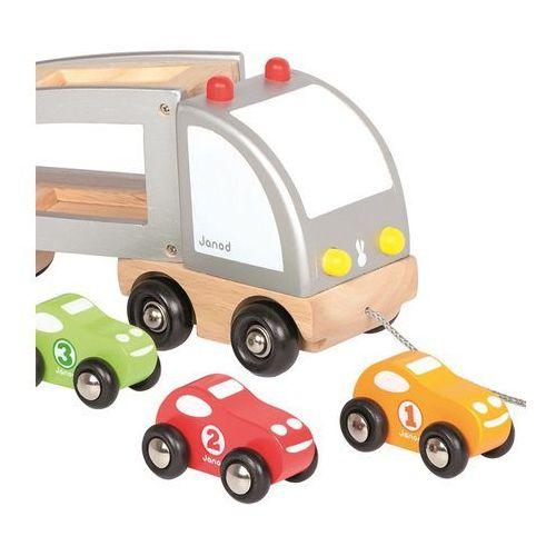 Janod Samochód drewniany laweta do ciągnięcia (3700217356033)