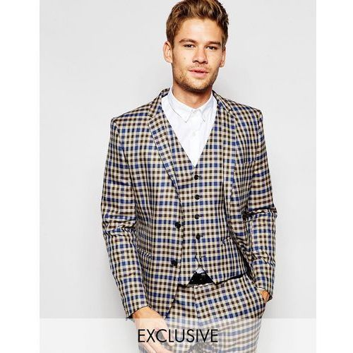 Selected Homme Exclusive Heritage Check Suit Jacket in Skinny Fit - Brown