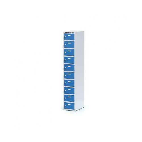 Metalowa szafka ubraniowa 10-drzwiowa, drzwi niebieske, zamek cylindryczny marki Alfa 3