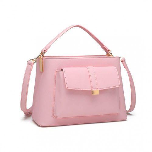 Modna torebka z charakterystyczną kieszenią z przodu różowy marki Miss lulu