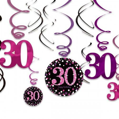Amscan Świderki, dekoracja na 30 urodziny różowa sparkling celebration