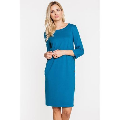 Niebieska trapezowa sukienka - Metafora, kolor niebieski