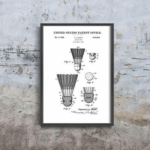 Plakatyw stylu retro plakatyw stylu retro patent na lotkę do badmintona marki Vintageposteria.pl