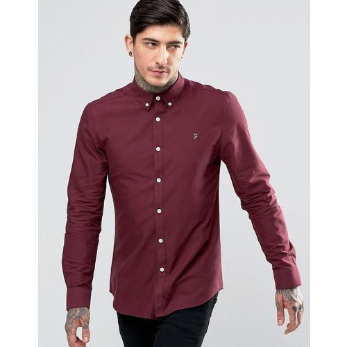brewer oxford shirt slim fit buttondown in bordeaux - red marki Farah
