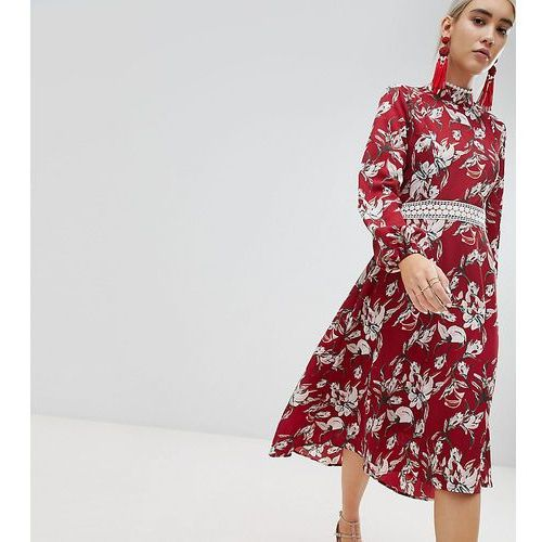 Boohoo Lace Trim Open Back Midi Dress - Red, kolor czerwony
