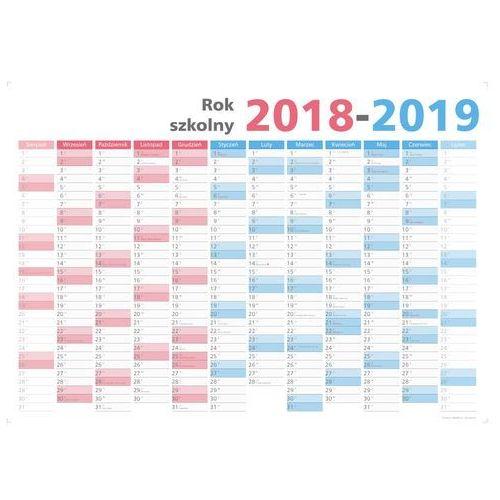 Suchościeralny kalendarz na rok szkolny 2018/19, 102x144cm (b0) z mocowaniem marki Planowaki.pl