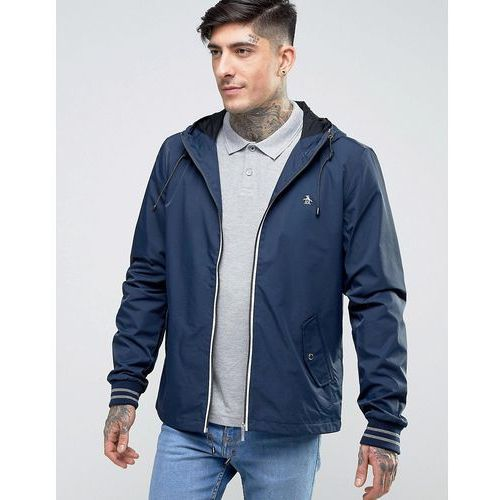 Original Penguin Lightweight Jacket Hooded Nylon in Navy - Navy