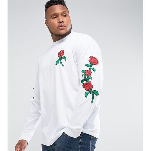 Asos  plus oversized long sleeve t-shirt with rose sleeve and chest print - white