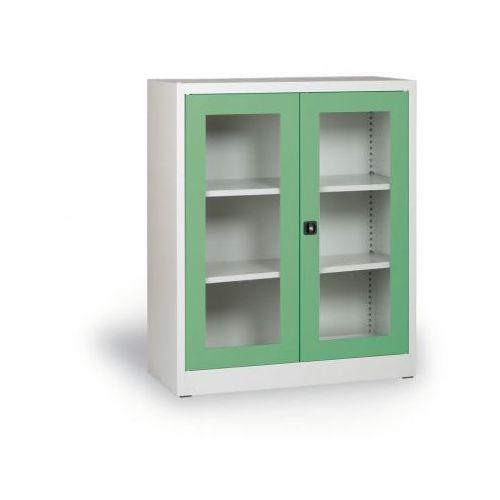 Szafa ze szklanymi drzwiami, 1150 x 920 x 400 mm, szaro-zielona