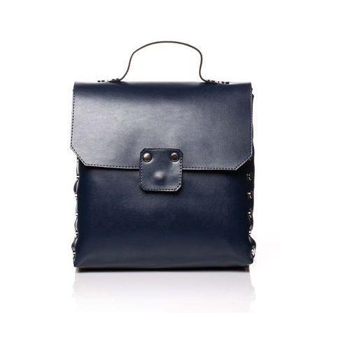 Granatowa elegancka torebka - plecak z metalowymi nitami marki Moe