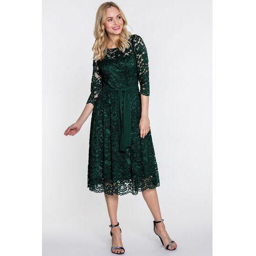 Rozkloszowana, koronkowa sukienka z paskiem - GaPa Fashion, 1 rozmiar