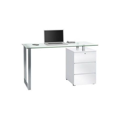Biurko 60x130 cm, biały, srebrny, wysoki połysk, MDF, szkło, 95509856