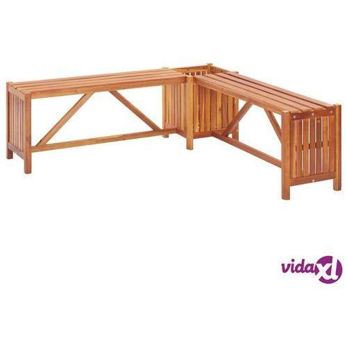 vidaXL Ogrodowa ławka narożna z donicą, 150x150x40 cm, drewno akacjowe (8719883722306)