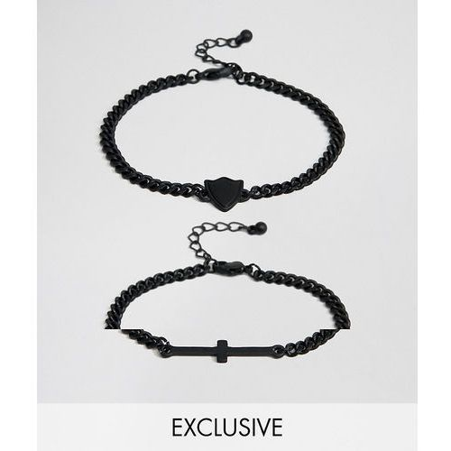 Reclaimed Vintage Inspired Cross Bracelet In 2 Pack Exclusive To ASOS - Silver, kolor szary