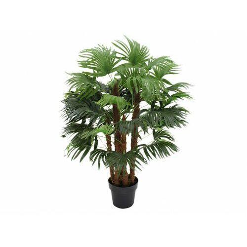 Vente-unique Sztuczne drzewko palmowe rhapis pień naturalny - wys. 113 cm