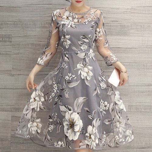 Round Neck 3/4 Sleeve Floral Print See-Through Dress
