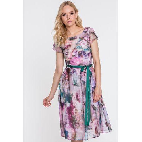 Sukienka w pastelowe kwiaty - Far Far Fashion, 1 rozmiar
