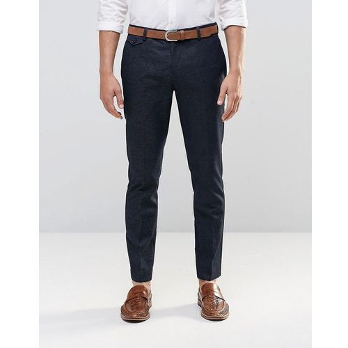 skinny fit smart trousers in navy with textured pattern - black, River island