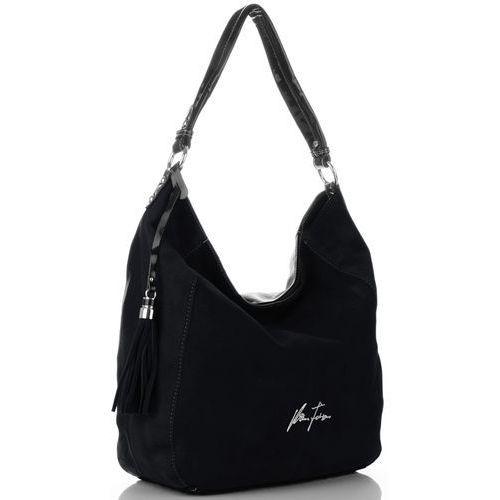 Uniwersalne torebki damskie firmy zamsz naturalny/skóra eko czarne (kolory) marki Velina fabbiano