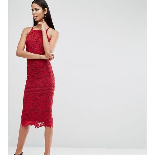 lace floral scallop midi dress - red marki Asos tall