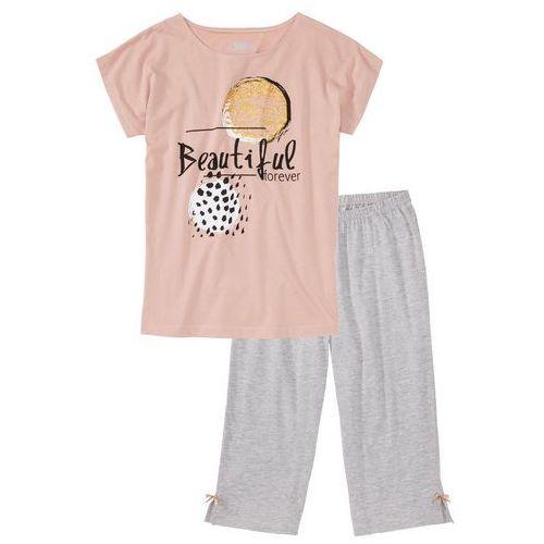 Bonprix Piżama ze spodniami 3/4 stary jasnoróżowy - jasnoszary melanż