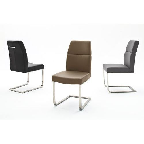 Krzesło na płozie VENED stal szlachetna szczotkowana, kolor Krzesło